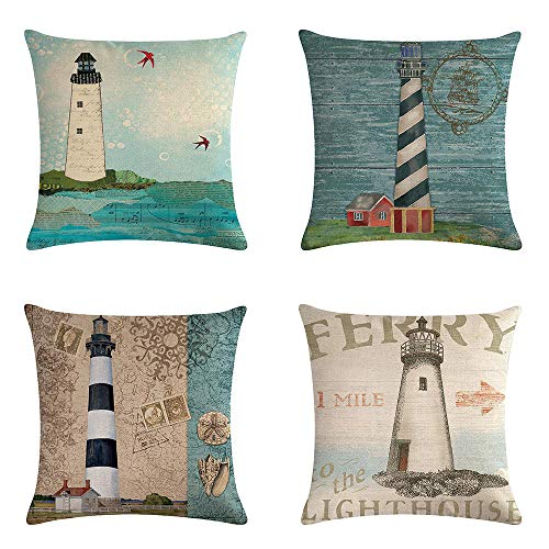 Only Lovuu Set of 4, Lighthouse Linen Throw Pillow Covers 18 x 18 Decorative Couch Pillow Cases Sofa Cushion Covers