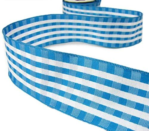 TAKAZOON Ribbons Supplies for 10 Yds Aqua Blue White Gingham Plaid Wired Ribbon for DIY Craft, Gift Wrapping, Christmas Wreaths Decoration. - 1 1/2'W.