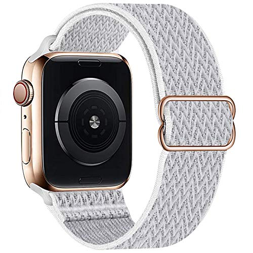 OHCBOOGIE Stretchy Solo Loop Strap Compatible with Apple Watch Bands 38mm 40mm 42mm 44mm ,Adjustable Stretch Braided Sport Elastics Weave Nylon Women Men Wristband Compatible with iWatch Series 6/5/4/3/2/1 SE,Seashell,38/40mm