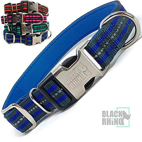 Black Rhino - Classic Striped Adjustable Dog Collar for Small Medium Large Breeds | 3m Reflective Threading | 4 Bright Colors - Matching Leashes Sold Separately (Blue Striped, Medium)