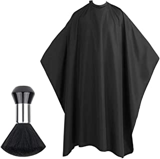 Hairdressing Cape Barber Beauty Shawl with Barbers Brush Unisex Black Salon Hair Cutting Gown Barber Cape Cloth