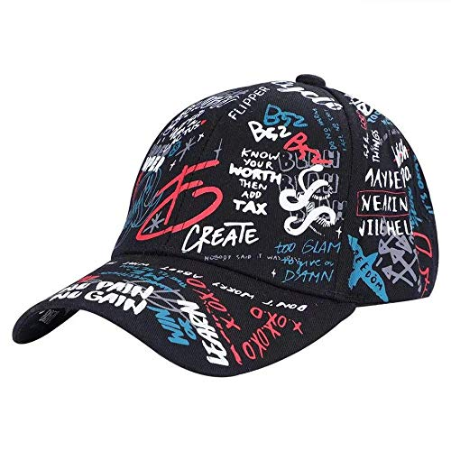 Fanxp® Impresión en Color de Moda Graffiti Personalizado Gótico Gorra de béisbol a Juego para Hombres Hombres Sombreros Sombreros de Ocio Ajustables