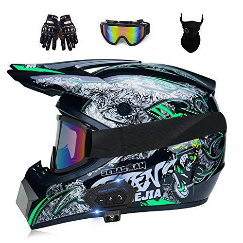ZGNB Casco Profesional Motocross Offroad Cascos con Gafas Máscara Guantes Helmet Dirt...