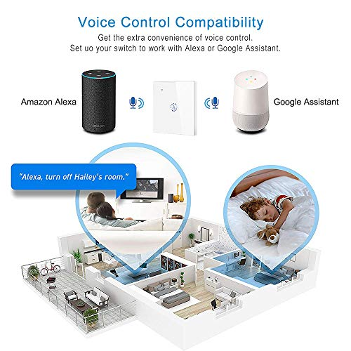 Winbang Interruttore Intelligente, Interruttore di Riscaldamento Wi-Fi Caldaia Interruttore Intelligente Interruttori riscaldatore dell'Acqua Comando a Distanza Timer Pannello a sfioramento (Bianco)