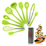 Kitchen Utensils Silicone Heat Resistant Kitchen Cooking Utensil Non-Stick Kitchen Utensil Set 10 Piece Cooking Set Non-Stick Kitchen Tools Turner, Whisk, Spoon,Brush,spatula, Pasta Fork(Green)