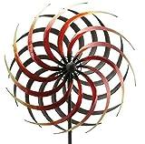 Rundes Windrad Garten - Rot/Metall - Ø 50cm/Höhe: 190cm - Wetterfest - Hochwertige Qualität & Stabiler Standstab - Gartenstecker/Metallwindrad/Windräder - Gartendeko