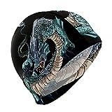 GanLongDian Gorro de natación para hombres y mujeres, unisex, elástico, diseño de dragón chino, talla única