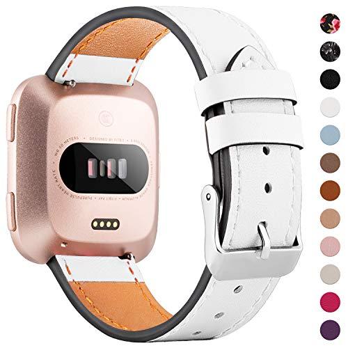 WASPO für Fitbit Versa Armband, Elegantes Echtes Lederarmband mit Schnellverschluss Pin Kompatibel mit Fitbit Versa 2/ Fitbit Versa/Fitbit Versa Lite Edition, Klein Groß Damen Herren (Weiß, L)