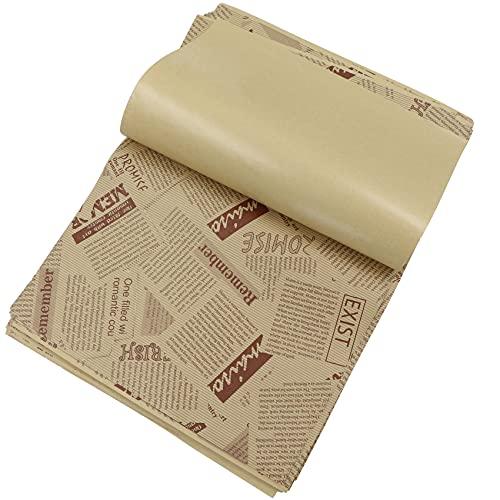 Lot de 50 feuilles de papier sulfurisé pour hamburger, sandwich, papier ciré pour gâteau, convient pour la famille, le bar, l anniversaire, la fête, le mariage, la décoration de table