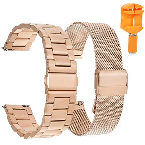 Idealeben 20mm Mesh Gewebte Edelstahl Uhrenarmband/Solide Edelstahl Uhrenarmband 2 Stück Metall Armband Sport Ersatzband für iWatch 2 Pro/Uhren mit Flacher Schnittstelle Universal, Gold