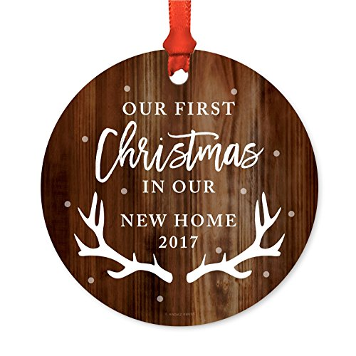 Andaz Press Custom Year Family Metal Christmas Ornament, Our First Christmas in Our New Home 2020, Rustic Wood with Deer Antlers, 1-Pack, Includes Ribbon and Gift Bag