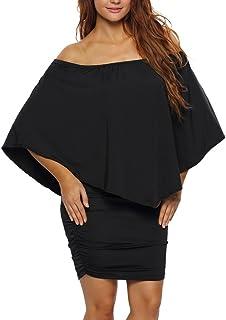 4cb0f361557 Wancy Womens Off Shoulder Ruffles Sexy Party Club Bodycon Mini Dress