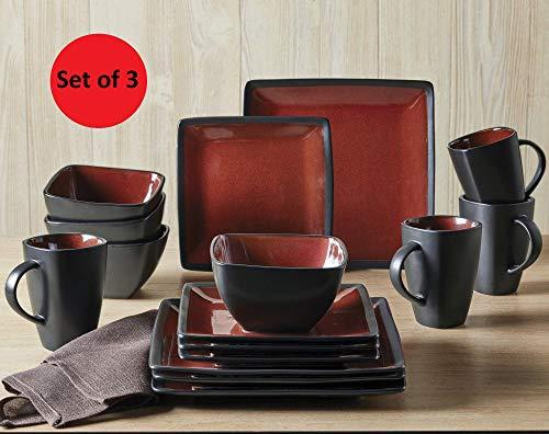 Better Homes & Gardens Red & Black Weston Dinnerware Set - 16 Piece