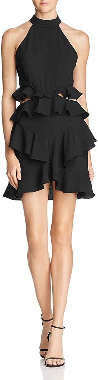 Do + Be Womens Ruffled Halter Cocktail Dress