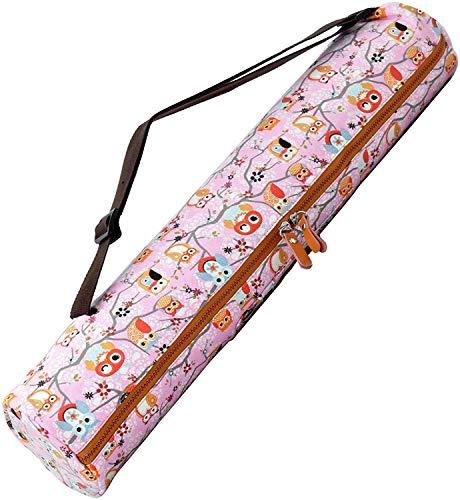 #DoYourYoga Yogabag »Sunita« Yoga Mat Bag Made of High-Class Canvas, for yogamats up to 180 x 60 x 0,3 cm. Pattern 4 Pink (Owls)