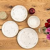 Geschirrset 24-teilig aus Porzellan für 6 Personen | Tiefe Suppenteller, Flache Essteller, Dessertteller und Schüsseln | Hochwertiges modernes buntes Vintage Tafelservice Kombiservice | Creme braun - 4