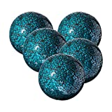 Whole Housewares Decorative Balls Set of 5 Glass Mosaic Sphere Dia 3' (Turquoise)