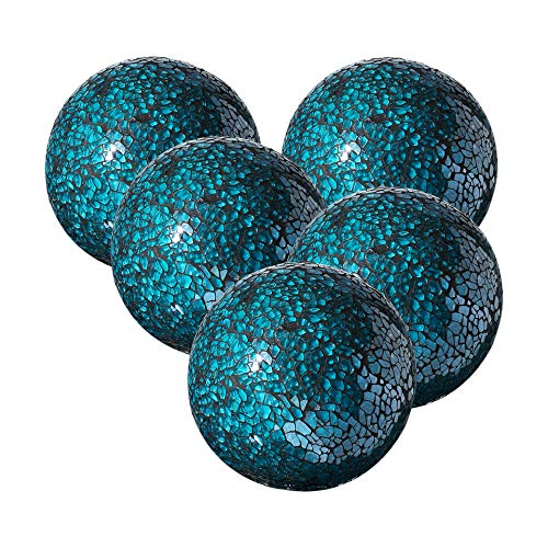 Whole Housewares Decorative Balls Set of 5 Glass Mosaic Sphere Dia 3' (Turquoise)