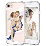 MOSNOVO iPhone 8 Case, iPhone 7 Case, Angel Love Clear Design Printed Transparent Hard Back Case with TPU Bumper Protective Case Cover for iPhone 7 / iPhone 8
