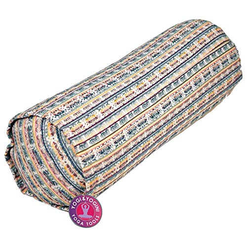 Bolster de yoga acolchado cilíndrico de color irisado, hecho de algodón, relleno de...