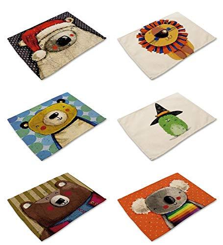 Mantel Individual 6 PCS,Tela Floral,Colorida Ropa De Algodón Mezclado,Mesa De Comedor Alfombrillas De Tela,Fat Cartoon Mermaid Imprimir Patrones,Creative Lavable Diseño Original Vintage Retro Modern
