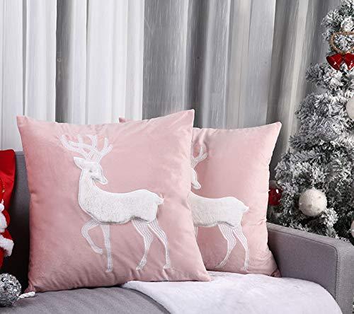 Weihnachten 2er Set Samt Kissen mit bestickten Applikationen Handarbeit Rentier Kissenbezüge Dekorative Kissenhülle Zierkissen Dekokissen Couchkisen für Sofa Restaurant Hotel 45X45cm (rosa)