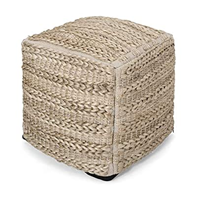 Christopher Knight Home Genevieve Handcrafted Boho Fabric Pouf, Natural