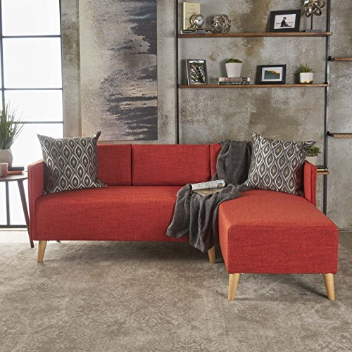 Christopher Knight Home Andresen Mid Century Modern Muted Orange Fabric Chaise Sectional, Natural