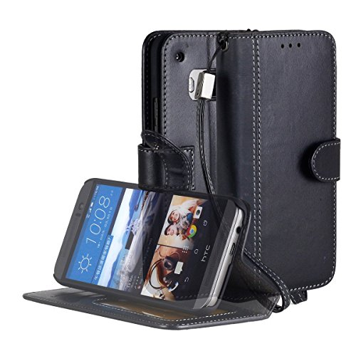 HTC One M9 Case, ACEABOVE [Stand Feature] HTC One M9 (Hima) Wallet CaseNEW [Book Cover Case] [Black]