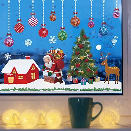 WEYON Weihnachts Fensterbilder, Selbstklebend Fenstersticker Wiederverwendbar Weinachten Dekoration, Fensteraufkleber Fensterdeko Fensterfolie aus PVC für Fenster, Türen,Schaufenster