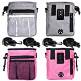STMK 2 Pack Dog Treat Pouch, Dog Training Treat Pouch with Waist Shoulder Strap, 3 Ways to Wear, Easily Carries Toys, Kibble, Treats for Dog Walking Dog Training Puppy Training (Grey and Pink)