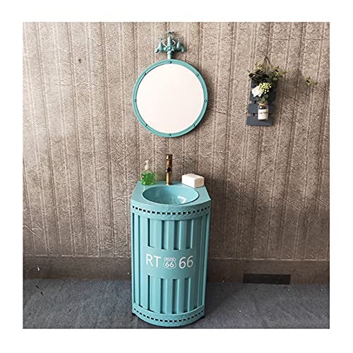 Standwaschbecken Im Retro-Industrie Stil, Kreatives Waschtischunterschrank Mit Kombination Aus Wasserhahn Und Abfluss, Schmiedeeiserne Säulen Waschbecken Rost-(Color:Blaue Säule Waschbecken + Spiegel)