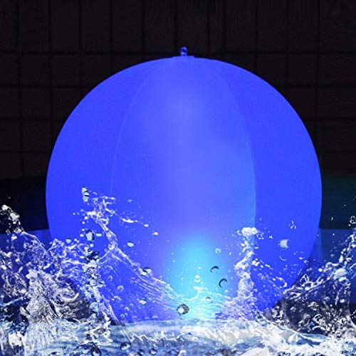 Solar Lights Outdoor Garden Lamp, 14 Inch IP68 Waterproof Inflatable Solar Ball Light Floating Pool Lights Hangable LED Solar Glow Globe, Color Changing LED Night Light Party Lawn Yard Decor 1PK