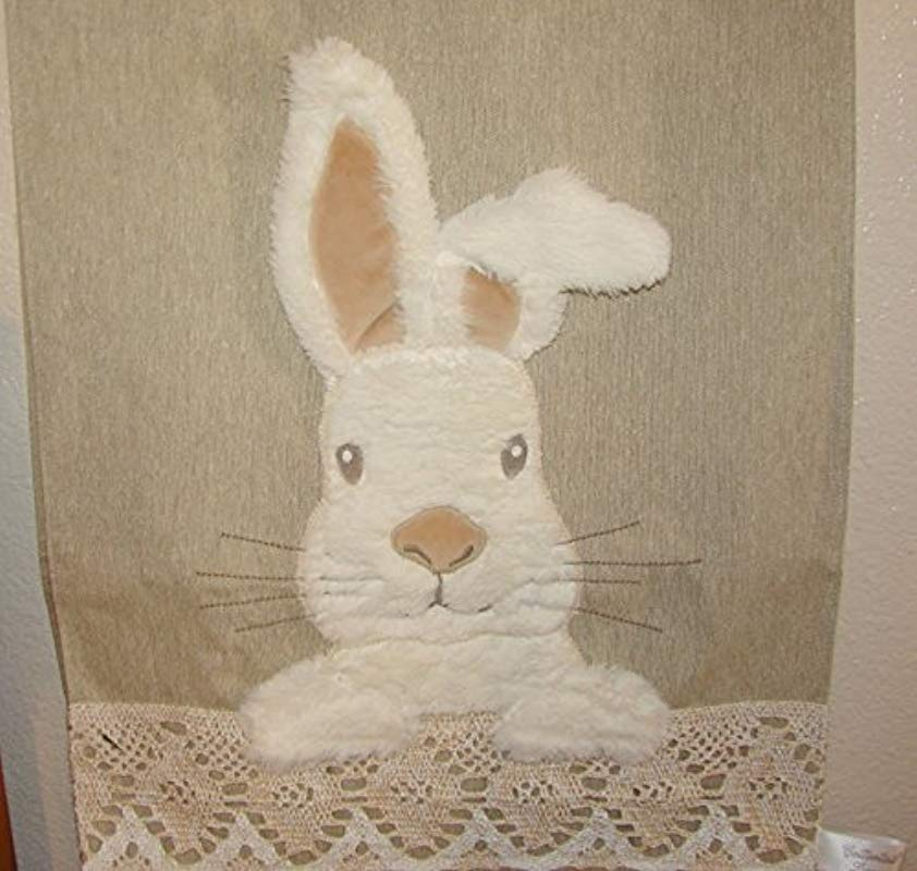 Cottontail Lane Plush Fur Easter Bunny Lace Linen Table Runner 14 X 72