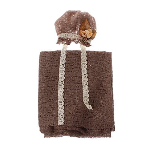 Vivianu neonato fotografia puntelli bambino crochet costume photo tappi stretch coperta set Coffee