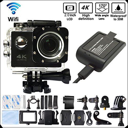 DITONG DT61 4K Ultra HD Action Camera WiFi 1080P 60fps 16MP/12MP 2.0 inch Waterproof Sports Video Camera Car Helmet Camcorder with 2pcs Batteries(Black)