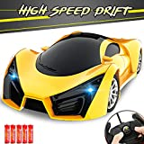 KULARIWORLD Remote Control Car, Drift RC Cars Toys for Kids,1/16 Scale 10KMH High Speed Super Vehicle with Led Headlight,Yellow Racing Hobby Best Xmas Birthday Gift for Boys Girls