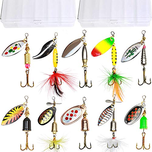 10pcs Fishing Lure Spinnerbait,Bass Trout Salmon...
