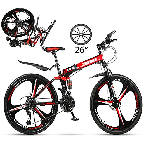 NYANGLI Faltbare Trekking Fahrrad Cross Trekkingräder, 26 Zoll MTB Erwachsener Land Gearshift Stahl-Rahmen Fahrrad, Hardtail Mountainbike Mit Verstellbarem Sitz 3 Cuttern,Rot,24speed