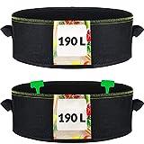 2 Macetas de Tela Grandes de 190L con Asas y 2 Etiquetas - 90cm ø y 30cm de Altura - Jardineras para Plantas, Flores, Fresas