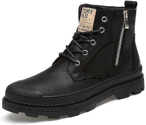 Fuxitoggo Botines de Moda para Hombre, Casual New Zipper High-Top zapatos de Trabajo para Exteriores (Opcional Velvet Warm) (Color  Warm negro, Tamaño  40 EU) (Color   negro, tamaño   47 EU)