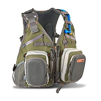 Fly Fishing Backpack and Vest Combo by AnglaTech with 1.5 Liter Hydration Water Bladder for Men and Women Adjustable Breathable Back Pack, Packs, Gear and Vests for FlyFishing 2016 Design