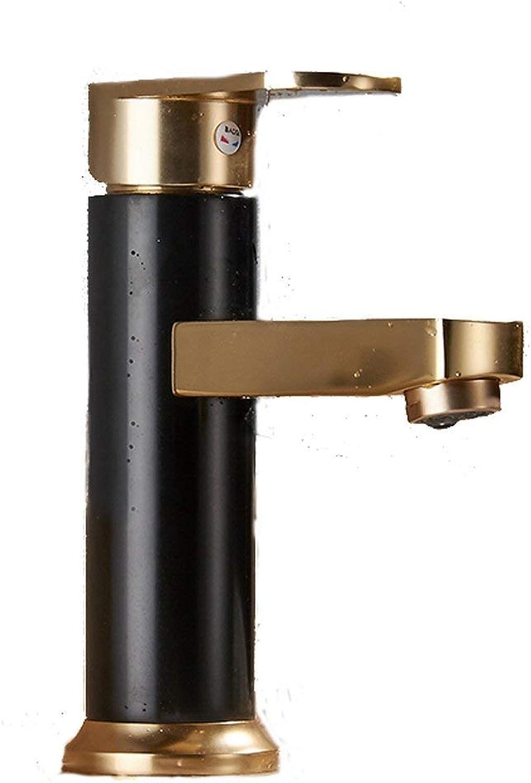 JFFFFWI Faucet-4456 Art Tap Space Aluminium hei und kalt Schwarz Gold Einlochmontage Retro europischen Stil Badezimmer Waschbecken ffnung 32mm bis 40mm installiert Werden kann