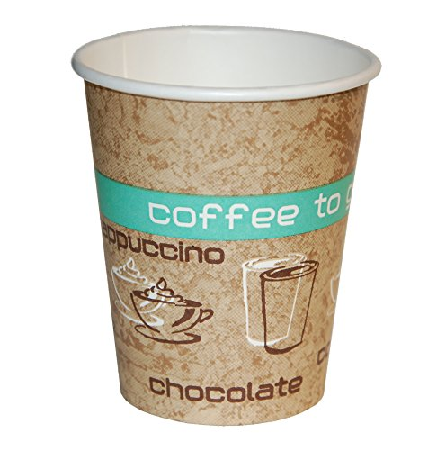 Coffee to Go Becher, Heißgetränke Pappbecher, 200ml, 50 Stück