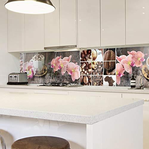 wandmotiv24 Küchenrückwand Kaffee Orchidee Schokolade Braun 210 x 50cm (B x H) - Aluminium 3mm Nischenrückwand, Spritzschutz, Fliesenspiegel-Ersatz, Deko Küche M1085