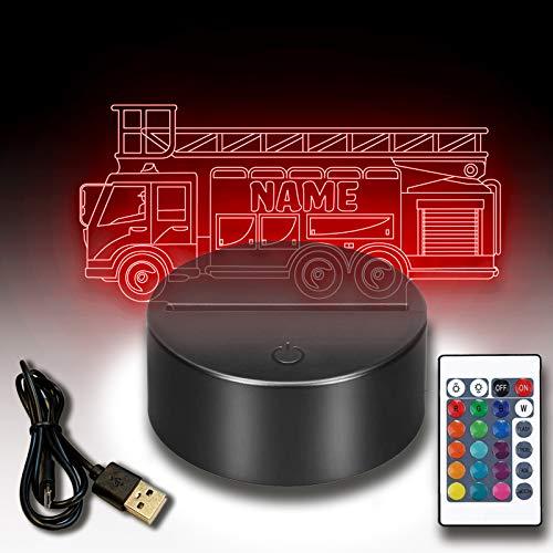 3d LED Lampe Nachtlicht Feuerwehrauto personalisiert mit deinem Wunschnamen Inklusive Fernbedienung USB Kabel 7 Farben. Als Deko Licht für für Feuerwehrler