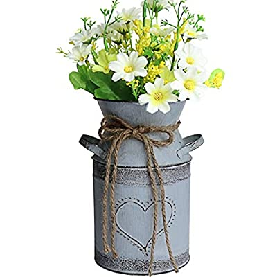 """MISIXILE French Style Country Metal Shabby Chic vase, Rustic Galvanized Milk Can with Heart-Shaped for Home Decoration -7.5""""(Misty Grey"""