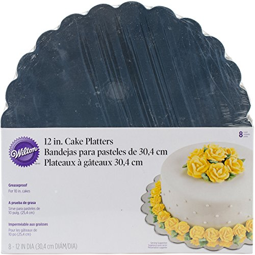 Wilton Pack de 8 Bases de cartón, 30 cm, Color Plateado