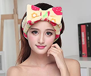 Huachnet Soft Caroset Cosmetic Headband-Polka Dots (Yellow with Red Berries)