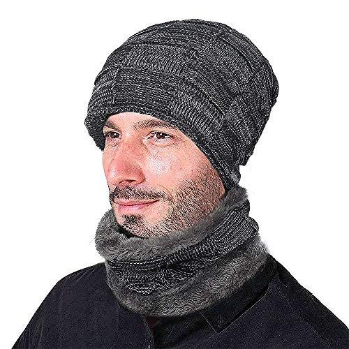 XIAOJIE De gebreide muts van dames heren wintermuts warme muts met sjaal-marine 2